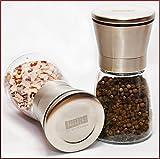 Laaks Premium Salzmühle/Pfeffermühle im Set. Gewürzmühle aus Edelstahl und echtem Glas in edlem Design mit einstellbarem Keramikmahlwerk für Gewürze, Meersalz, Chili. Kräutermühle Streuer