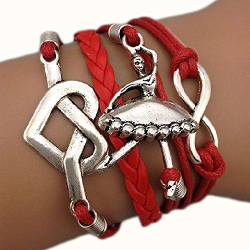 Bracciale braccialetto Infinito infinity ballerina Brasile Karma cuore tendenza fashion Rosso Multi fili