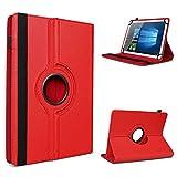 UC-Express Archos Access 101 3G Tablet Hülle Tasche Schutzhülle Case Schutz Cover 360° Drehbar 10.1 Zoll Etui, Farbe:Rot