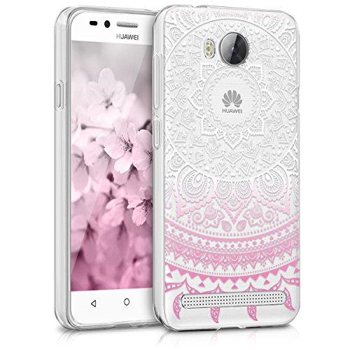 kwmobile Huawei Y3 II (2016) Hülle - Handyhülle für Huawei Y3 II (2016) - Handy Case in Pink Weiß Transparent