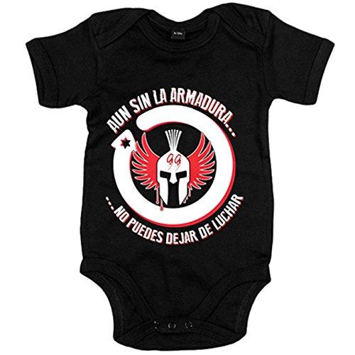 Body bebé motero aun sin la armadura no puedes dejar de luchar - Negro, 6-12 meses