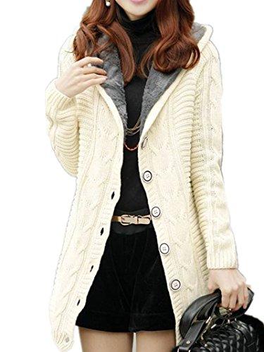 Damen Strick Mantel Lange Ärmel Pullover Kabel Gestrickte Strickjacke Strick Cardigan mit Kragen Mantel Outwear Langarm für Herbst Winter - 5 Farben one size (Pullover Kabel Strickjacke)