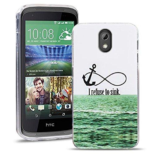 HTC Desire 526 526G Handy Tasche, FoneExpert® Ultra dünn TPU Gel Hülle Silikon Case Cover Hüllen Schutzhülle für HTC Desire 526 526G + Displayschutzfolie (I refuse to sink)