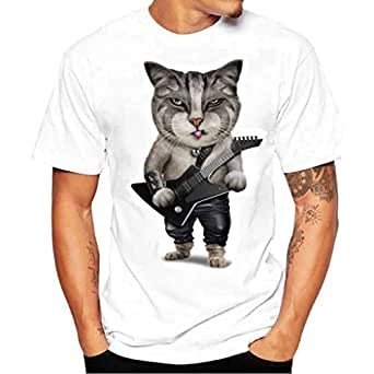 e3c2286a0a HARRYSTORE-Men Top Cat Print Short Sleeve T-Shirt Round Neck Casual Tee  Summer Novelty Patterned Fitted Top for Work Office Holiday