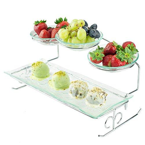 Ilyapa 2Server Stöckig mit Schalen & Tablett-abgestuftes Servierplatte-Ideal für Kuchen, Dessert, Garnelen, Vorspeisen & mehr -