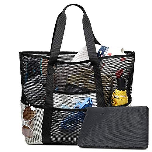 Strandtasche XXL Sommer Tasche Schultertasche Handtasche für Strand Shopper Reise Urlaub (Schwarz/Weiß) von Bertasche