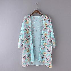 Tonwalk Women Cover up Blouse Boho Floral Printed Chiffon Shawl Kimono Cardigan Tops