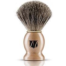 Miusco Cepillo de Afeitar Puro del Pelo del Tejón del 100% Puro. Para la Maquinilla de Afeitar de la Seguridad, la Maquinilla de Afeitar del Doble Borde, la Maquinilla de Afeitar Recta o la Afeitadora que Afeita, Manija Marrón