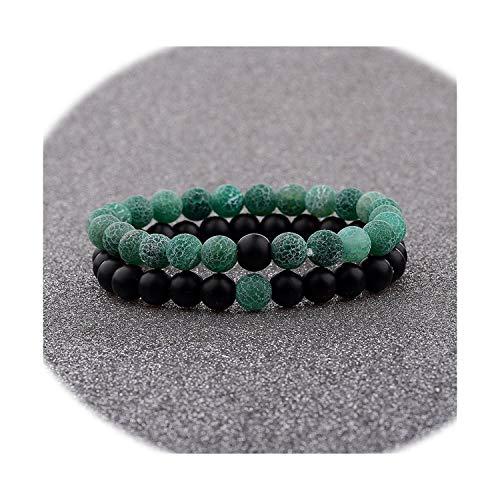Aye, captain Paar Armband Frauen ES Verwitterte Onyx Stein Perlen-elastisches Armband, Grün -