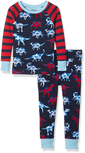 Hatley Long Sleeve Printed Pyjama Set, Conjuntos de Pijama para Niñas, Blue (Dinosaur Herd), 7 Años