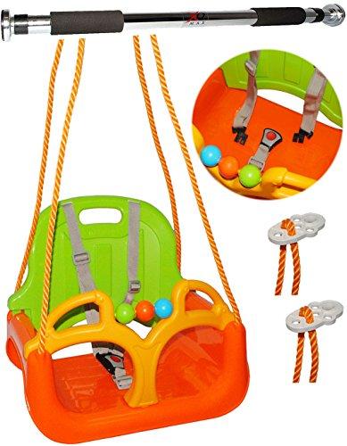 alles-meine.de GmbH 2 TLG. Set: mitwachsende - Kinderschaukel / Babyschaukel / mit Gurt + Türreck - Gitterschaukel mitwachsend & verstellbar -  ORANGE / GRÜN / GELB  - Leichter..