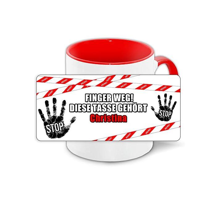 Büro-Tasse mit Namen Christina und schönem Motiv - Nr. 2 - Finger weg, diese Tasse gehört, Farbe: rot