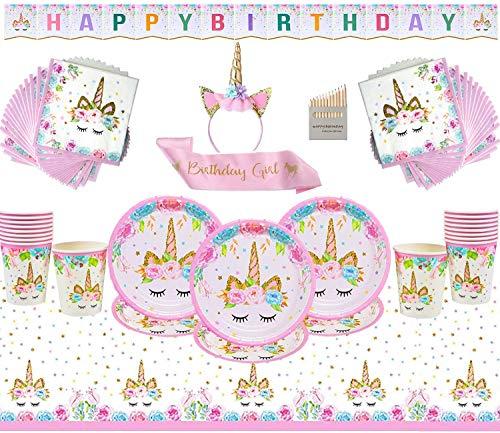 Mädchen Party Supplies - Einhorn rosa Geburtstag Dekoration Geschirr Mädchen