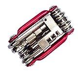 Wokee 11-in-1 Fahrrad Multifunktions Reparatursatz mit Hex Speichenschlüssel Schraubendreher NEU,Mini Klapp Werkzeug Set für MTB, Rennrad, E bike (Rot)