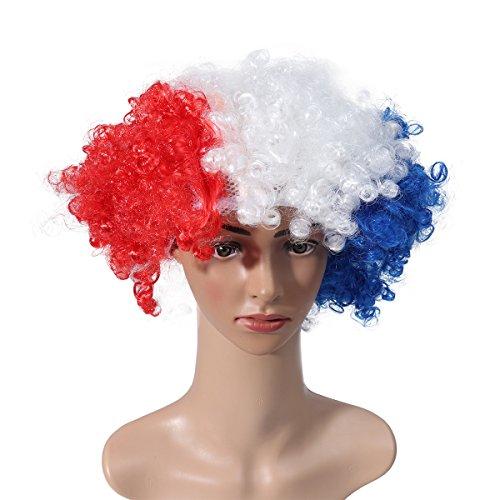 LUOEM 2018 WM Nationalflagge Perücke Maskerade Partei Clown Perücke für Fußballfans Weltcup Karneval (Frankreich)