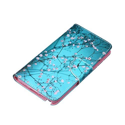 iPhone 6S Plus Hülle, iPhone 6 Plus PU Leder Hülle Tasche Handyhülle, iPhone 6S Plus Ledertasche im Bookstyle Brieftasche Flip Case mit Silikon Backcase, SainCat Premium Design Luxus Schutz Bumper Wei Blaue Pflaume