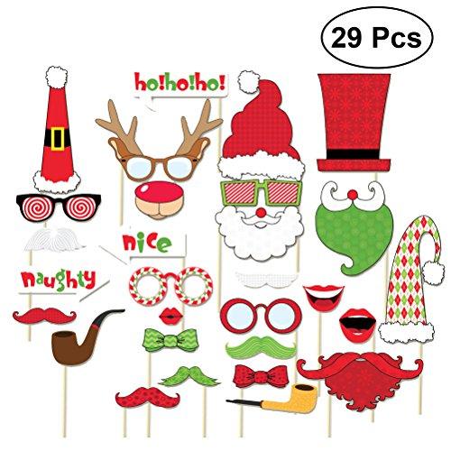 BESTOYARD Weihnachten Photo Booth Props Kit 29 Stk Lustige Weihnachten DIY Selfie Requisiten Happy Christmas Foto Requisiten auf einem Stick für Party Supplies mit Brille Schnurrbart Red Lips Deer Horn Santa Hut