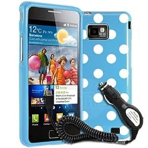 AIO Blue Polka Dot Gel Case Samsung Galaxy S2 i9100 + Car Charger & Film