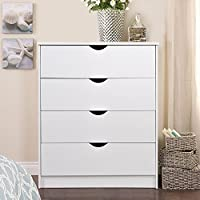 Chest of 4 Drawers Bedroom Storage Furniture, Wooden, White