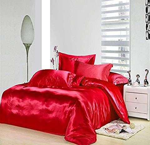 6 PIECE SATIN COMPLETE BEDDING SET Silky Silk Duvet Cover Fitted Sheet 4 Pillowcase Complete 6pcs Bedding Set (KING, RED)