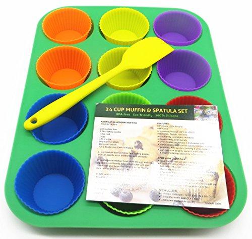 Muffin e Cupcake (Colorato) Set per dolci: 1 Modulo Silicone per Cupcake + 12 pirottini di cupcake di Silicone + 1 Ricetta per muffin al mirtillo + 1 Spatola per dolci con centro in acciaio / Antiaderente/ Lavabile in lavastoviglie/ se può mettere in congelatore / Senza-BPA