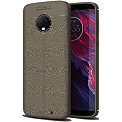Golden Sand Compatible with Moto G6 Plus Case Leather Texture Series Shockproof Armor TPU Back Cover Case for Motorola Moto G6+ Plus Cover,Lunar Grey
