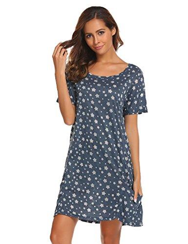 ADOME Damen Nachthemd Sleepswear O-Ausschnitt Kurzarm Star Print Nachtwäsche Nachtkleid Casual mit Tasche Stil A-Dunkelblau