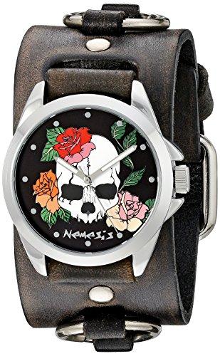 Nemesis Unisex 933DFRB-K Black Skull and Roses-Bracciale in pelle, colore: nero sbiadito-Anello a fascia da uomo al quarzo con Display analogico, colore: nero-stile giapponese