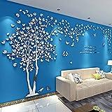 Albero Adesivo da Parete, Alberi e Uccelli 3D Adesivi Murali Arts Wall Sticker Decorativi per TV Par (L-300 * 150cm, Argento Sinistra)