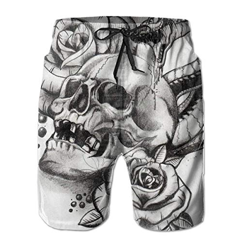 Mens Roses Horror Skull Grafik Snake Tattoo Badehose Quick Dry Schwimmen Trucks für Männer Big und Tall Beach Shorts - Tall Big And Männer-bademode