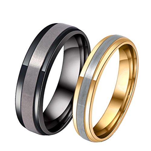 Retro-designer-center (HIJONES Paar Aus Rostfreiem Stahl Matt Silber Center Ring für Frauen Einfachen Stil Gold Größe 57)