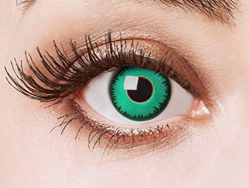 aricona Kontaktlinsen Farblinsen grüne Kontaktlinsen farbig zum Hexenkostüm/Halloween Kostüm