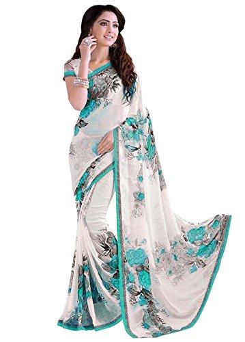 Shivalika Tex Georgette Saree (Ak_Sky_Flower_Sky)