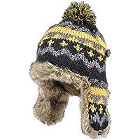 Sombrero-otoño Sombrero de Invierno Orejeras engrosadas Sombrero cálido Color Mezclado Pelota de Pelo Sombrero de Punto en el Interior Más Terciopelo Engrosamiento Una Variedad de Uso (Color : B)