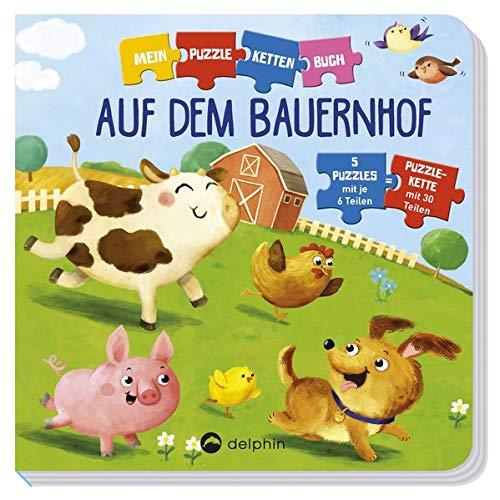 Puzzlekettenbuch Auf dem Bauernhof: 5 Puzzles mit je 6 Teilen
