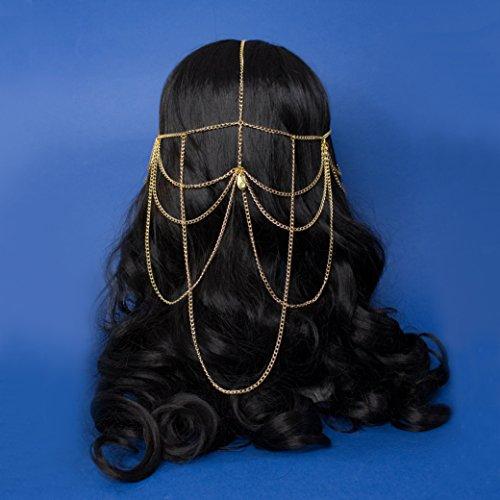 Endacil Kopf Kette, Fantasy Hochzeit goldene Haar Kette mit Tropfen Anhänger, Elch Hochzeit und Festival-Design, originelles Geschenk zum ()