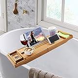 Qenci Ausziehbare Badewannenablage, Bambus Badewannenbrett Badewannenauflage mit Halter für Handy Tablett Wein Tuch Seifen L111xB23xH8cm