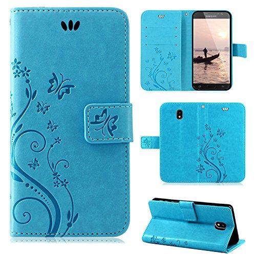 betterfon | Flower Case Handytasche Schutzhülle Blumen Klapptasche Handyhülle Handy Schale für Samsung Galaxy J7 (2017) DUOS Blau