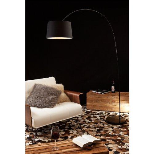 Steh-Lampe dimmbar schwarz mit Standfuß aus Marmor 205x150 cm | Ekon | Steh-Leuchte groß mit Lampenschirm aus Textil | Bogen-Lampe für Wohnzimmer 205cm x 150cm