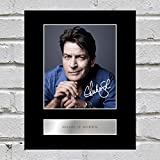 Charlie Sheen Signiert Foto Display