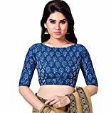 #10: STUDIO SHRINGAAR LATEST PURE COTTON BLUE JAIPURI BLOCK PRINTED WOMENS SAREE BLOUSE WITH BOAT NECK AND ELBOW LENGTH SLEEVES