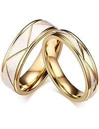 KNSAM - Anillo de banda de acero inoxidable dorado, anillos de compromiso para hombres y