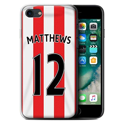 Offiziell Sunderland AFC Hülle / Gel TPU Case für Apple iPhone 7 / Matthews Muster / SAFC Trikot Home 15/16 Kollektion Matthews