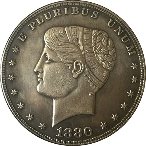 Bespoke Souvenirs Rare Antique United States 1880 Pluribus Unum Silver Color Goloid Metric Dollar Coin -