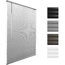 Sol Royal Store venitien en aluminium SolDecor J32 - Argent - 90 x 130 cm - Montage simple sans vis - fixation inclus