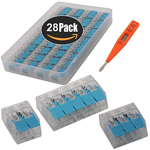 KINYOOO Verbindungsklemmen Kombination, Steckklemmen Leiter-Klemme mit Betätigungshebel Leiter Klemme 2 polig12 Pcs / 3 polig12 Pcs / 5 polig 4 Pcs + 1P Spannungsprüfer