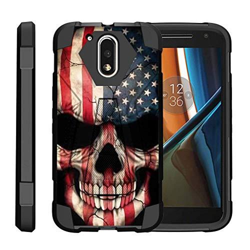 turtlearmor | Motorola Moto G4Fall | Moto G 4. Generation | Moto G4Plus Case [dynamisch Shell] Hybrid Dual Layer Hard Shell Ständer Silikon Fall -, US Flag Skull (G Cricket Phone Moto)