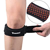 Yoassi 2 x Adjustable Knee Braces, Anti-Slip Design Unisex Patella Tendon Straps Knee Support with Silicone Pad for Pain Relief(2 Pcs) ...