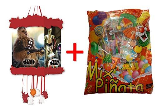 ALMACENESADAN 1162, Vignette de piñata Star Wars 20x30 cm, remplie de piñata (50 Produits, 834 grammes)
