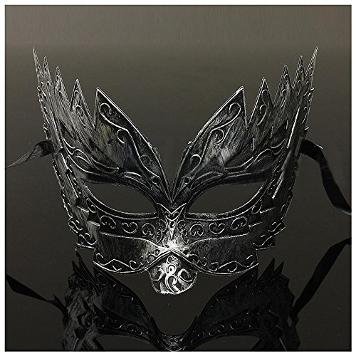 Zorux - 1 Stück Herren Maskenball-Maske, Junggesellenabschied, Faschingskostüm, venezianisches Augengesicht Silber